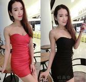 新款韓版性感抹胸露背褶皺包臀洋裝 女裝連衣裙 宴會禮服表演 好再來小屋