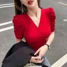 網紅t恤女ins超火2020年夏季新款短款v領紫色泡泡袖潮流短袖上衣 交換禮物