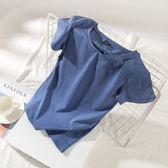 短袖T恤2018夏裝素色學生圓領緊身上衣打底衫白色修身半袖短袖t恤女 曼莎時尚