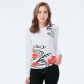 BigTrain 牡丹水紋圓領長袖女T-女-漂白-Z2516580