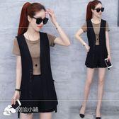 新款短袖黑色馬甲休閑時尚顯瘦夏季短褲套裝女裝三件套 潮流小鋪
