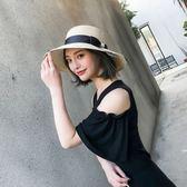 帽子女夏遮陽帽防曬可摺疊海邊度假旅游大檐草帽英倫沙灘帽太陽帽限時八九折