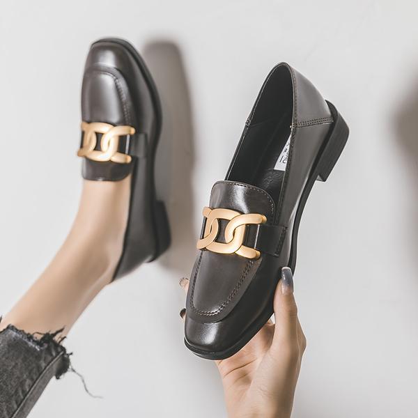 樂福鞋女2021新款百搭英倫小皮鞋平底單鞋復古秋季大碼女鞋41一43INS潮韓版粗地跟