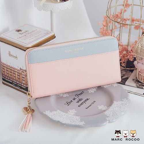 MARC ROCOO-艾莉塔系列-時尚撞色拼接流蘇長夾-319-輕甜粉