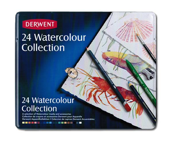 Derwent 達爾文 watercolor aquatone 水溶性24C色鉛筆*0700304