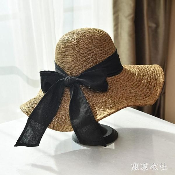 草帽沙灘防曬大檐草帽海邊度假可折疊遮陽帽韓版太陽帽子 QQ19971『東京衣社』