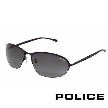 【南紡購物中心】POLICE 都會復古飛行員太陽眼鏡 (消光黑) POS8692-0531