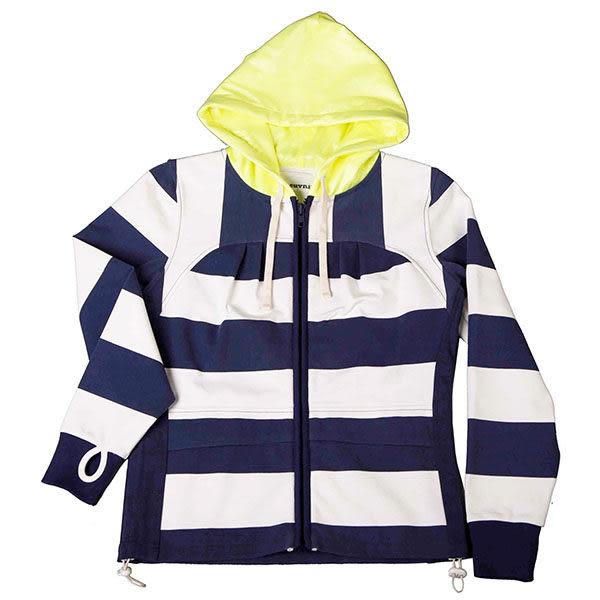 『摩達客』美國LA設計品牌【Suvnir】藍白橫紋女版連帽外套(11112082011)