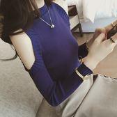 ZUCAS~(A-3696)韓版純色坑條紋削肩上衣短版圓領長袖羅紋針織毛衣衫