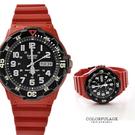 CASIO卡西歐 搶眼黑紅配色質感軍裝手錶 休閒運動腕錶 防水100米【NE1425】原廠公司貨
