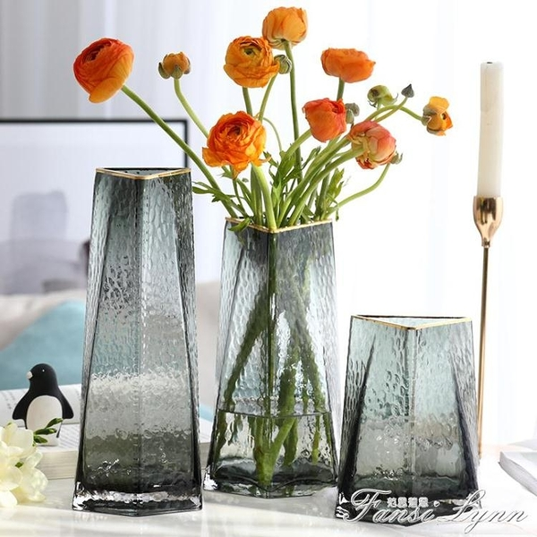 創意三角口錘目紋楞面輕奢現代桌面客廳鮮花干花玻璃花瓶插花擺件 范思蓮恩