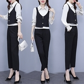 L-4XL大碼套裝 三件套 長袖套裝 法式套裝女收腰顯瘦時尚氣質裝襯衫馬甲三件套 8860 R44-A 皇潮天下