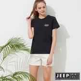 【JEEP】簡約美國風素面短袖TEE-男女適穿-黑