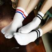 新款 精品純棉二條杠學院復古風休閑情侶運動襪子 《小師妹》yf614