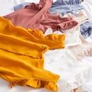 【Charm Beauty】木耳邊 背心 襯衣女 夏季 新款 韓版 甜美 單排扣 無袖 雪紡衫 上衣