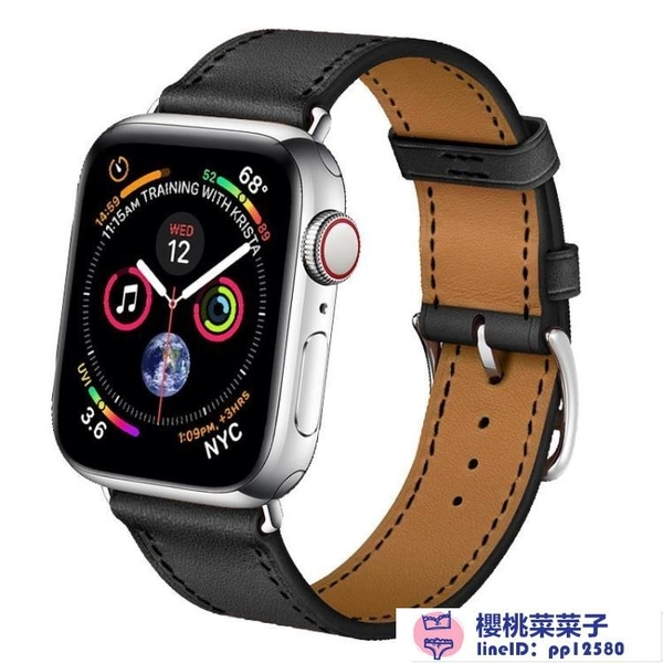 iwatch2/3/4代表帶替換帶適用蘋果手表錶帶真皮【櫻桃菜菜子】