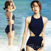 圓領露腰 黑色連身泳裝 性感露背 比基尼 顯瘦翹臀 舒適 無鋼圈泳衣
