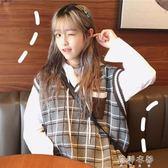 馬甲 女裝韓版原宿風中長款針織背心學生寬鬆無袖套頭毛衣馬甲外套 蓓娜衣都