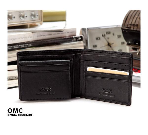 OMC - 柔軟羊皮款真皮可拆式6卡3照左右翻短夾