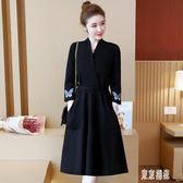 貴夫人刺繡連衣裙高端洋氣遮肚顯瘦減齡長袖打底裙胖女人mm大碼洋裝裙 EY7601『東京潮流』