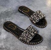 拖鞋女夏時尚涼拖外穿2018新款一字拖百搭平底水鑚韓版海邊沙灘鞋·Ifashion