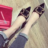 尾牙年貨 瓢鞋女涼鞋漆皮尖頭中空平底鞋平跟