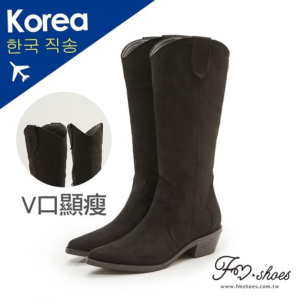 靴.蜜桃絨V口西部牛仔長靴(黑)-FM時尚美鞋-韓國精選.Ivory