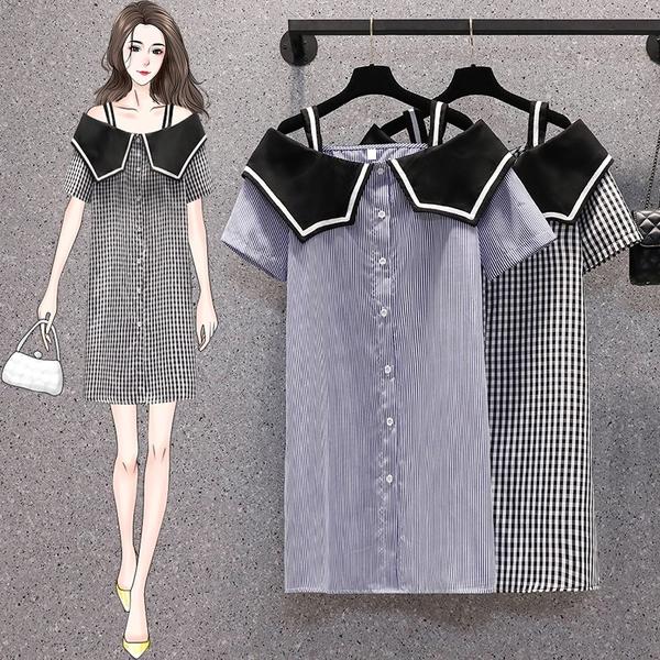 VK精品服飾 韓系大碼格紋豎條紋細肩帶娃娃領短袖洋裝