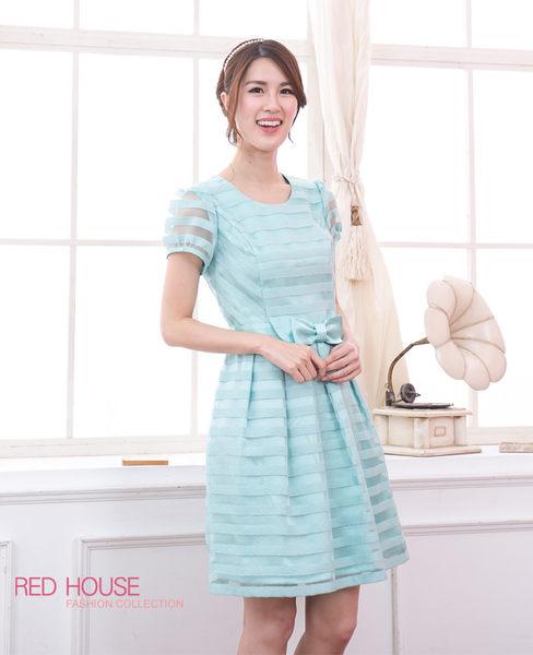 【RED HOUSE-蕾赫斯】蝴蝶結腰帶條紋洋裝(共二色)