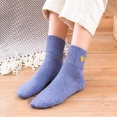 秋冬款女士中筒襪厚款純棉襪防臭保暖襪純色女棉襪糖果色襪子5雙