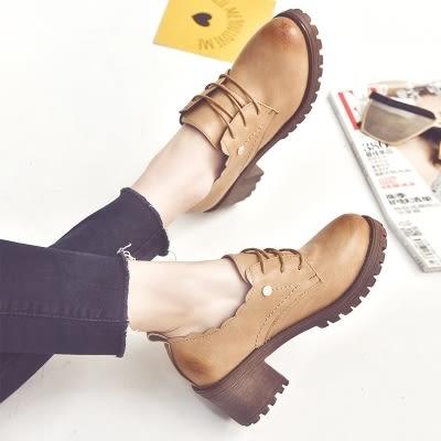 馬丁靴英倫風時尚單鞋繫帶粗跟鞋百搭高跟鞋深口女鞋牛津鞋【巴黎世家】