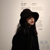 麂皮絨帽子女秋冬日系大檐時尚遮陽寬檐漁夫帽【極簡生活】