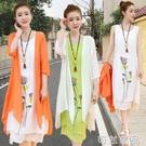夏季棉麻洋裝兩件套年春裝新款氣質顯瘦民族...