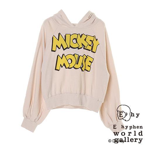 「Hot item」 Disney聯名款-MICKEY MOUSE標語打印連帽T恤 - E hyphen world gallery
