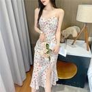 碎花連衣裙夏 法式碎花珍珠吊帶連衣裙女中長款2021新款春夏甜美小心機雪紡裙子 設計師