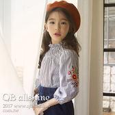 女童襯衫 繡花肩袖直條紋木耳捲小立領長袖襯衫 韓國外貿中大童 QB allshine