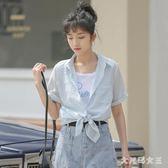 雪紡襯衫 2019新款Polo領韓版設計感小眾豎條紋拼接假兩件短袖襯衫女夏 HT1866