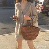 開衫外套秋裝韓版女裝復古chic寬鬆V領毛衣開衫氣質中長款針織衫外套  ciyo黛雅