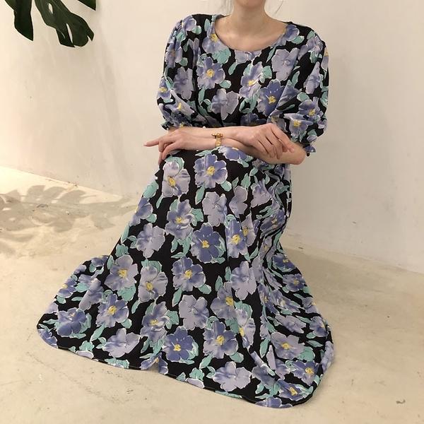 長版洋裝長裙~碎花長裙~宮廷風洋裝長裙~泡泡袖花色連身裙 7908.N608莎菲娜