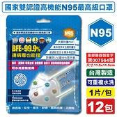 台灣精碳 N95醫用口罩 1入X12包 (國家認證 可水洗重複使用 台灣製) 專品藥局【2018538】