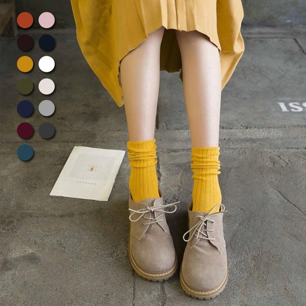 【Stay】網友狂推 韓系文青針織素色堆堆襪 超高CP值 中統襪 捲捲襪復古百搭 長襪 棉襪【SO04】