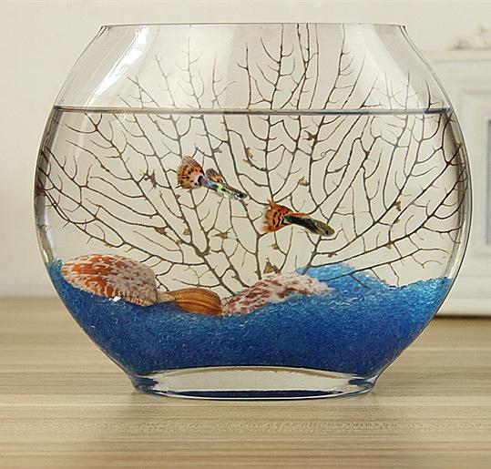 風水擺件 創意扁口玻璃魚缸橢圓形 超白透明玻璃金魚缸迷你水族箱小型桌面 零度 WJ