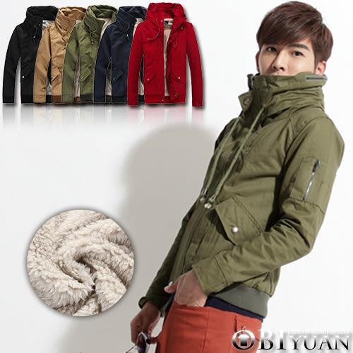 內裡絨毛刷毛軍裝外套【F8212】OBI YUAN 太空領短大衣/共5色有加大尺碼