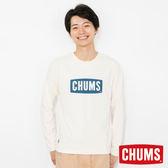 CHUMS 日本 男 LOGO 長袖圓領T恤 米色 CH011284W002
