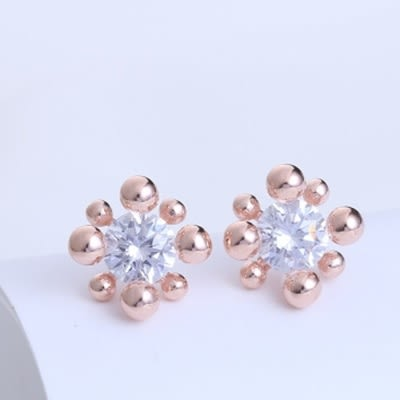 耳環 925純銀鑲鑽-精緻時尚生日情人節禮物女飾品2色73hk41[時尚巴黎]