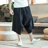 寬松大碼棉麻七分褲中國風男短褲休閒闊腿