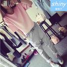 【V0457】shiny藍格子-悠閒單品.圓領寬鬆短袖上衣+鬆緊腰哈倫長褲