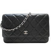 CHANEL 香奈兒 黑色羊皮銀釦斜背包 WOC Classic Wallet On Chain Bag【BRAND OFF】