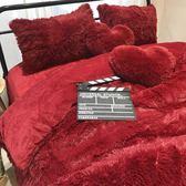 床上四件套 羊羔絨珊瑚絨天鵝絨純色水貂絨四件套冬加厚保暖床單被套床上 巴黎春天