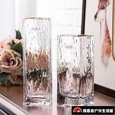 透明描金玻璃花瓶客廳創意歐式工藝品擺件錘紋方口花瓶【探索者】